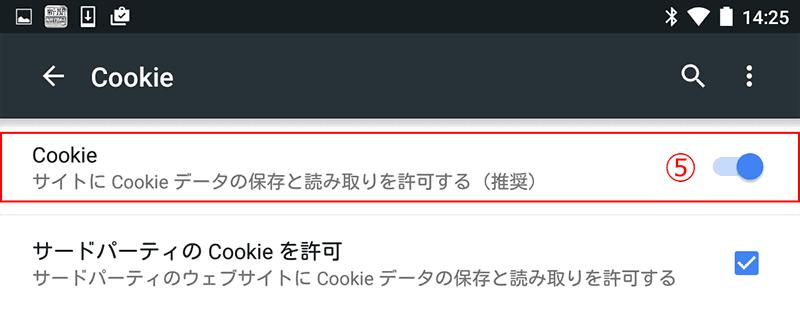 「Cookie」を、⑤[オン(サイトにCookieデータの保存と読み取りを許可する)]にします。