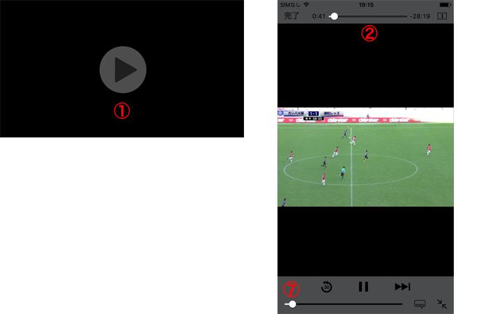 iOS(スマートフォン)プレイヤー初期表示 / コントロール