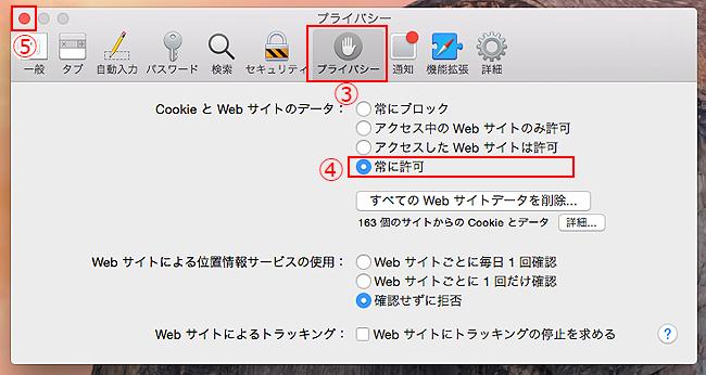 ③[プライバシー]タブをクリックします。「CookieとWebサイトデータ」項目の④[常に許可]を選択後、画面左上の⑤[閉じる]ボタンをクリックします。